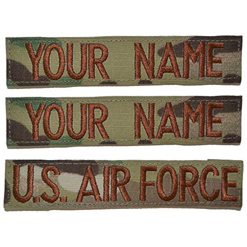 Name Tapes Multicam - Custom 3 Piece USAF OCP/Scorpion Name Tape with Hook Fastener