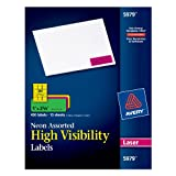 Color Label Printer - Avery Neon Laser Labels, Rectangle, Assorted Fluorescent Colors, 1
