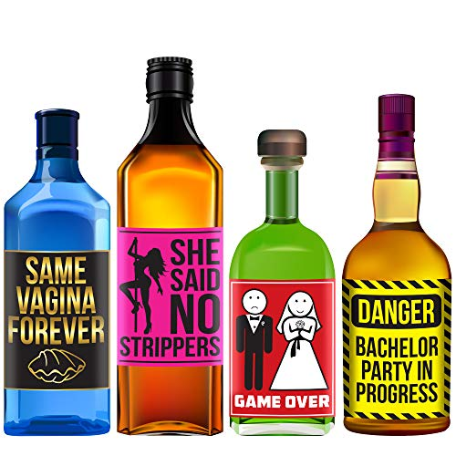 Bachelor Party Alcohol Labels - Funny Bachelor Party Ideas, Supplies, Gifts, Decorations and Favors - Drinking Game