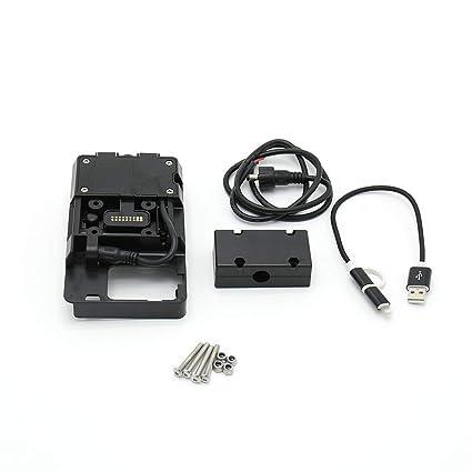 Carrfan Accesorios de Soporte de Navegación para Teléfono Móvil con Cargador USB para BMW R1200GS LC y Adventure S1000XR R1200RS