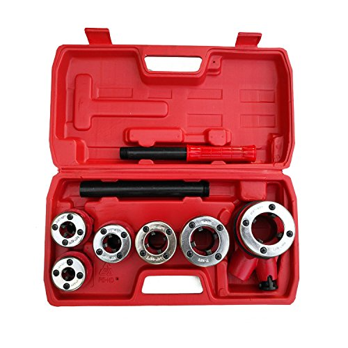 "Pipe Threading Set (Ratchet Pipe Threader- 6 Piece Die Pipe Threading Set, NPT ½"" to 1¼"" Cutting Tool For All Kinds Of Pipes, a U.S. Solid Product)"