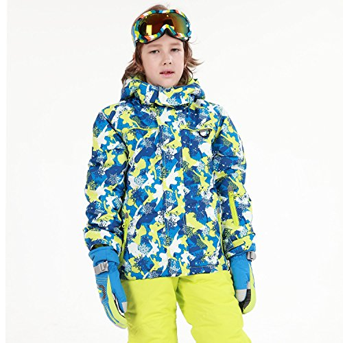 HAIVIDO Big Boys & Girls Ski Jackets with Removable Hooded Water-Resistance & Windproof Thicken Thermal Boys Snow Jackets Bright Colorful Printed Snow Coats (Kids Boys Ski Jacket)