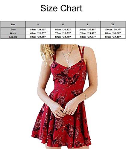 Patineur Robes Sangle Spaghetti Sexy Dos Nu Féminin Robe Cocktail Floral Volants Pour Le Club Mariage Fête De Nuit Rouge Rouge
