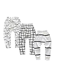 Unisex Toddler Kids Baby Boys Girls 3 Pack Cartoon Trouser Tapered Ankle Pants