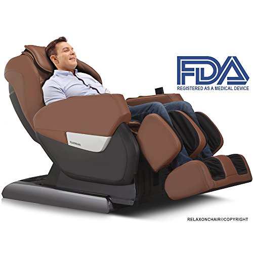RELAXONCHAIR MK-IV Full Body Zero Gravity Shiatsu Massage Chair with Built in Heating and Air Massage System (Brown)