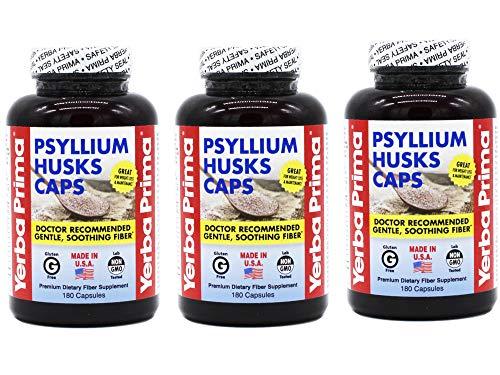 Yerba Prima Psyllium Husks Capsule - 180 per Pack - 3 Packs per ()