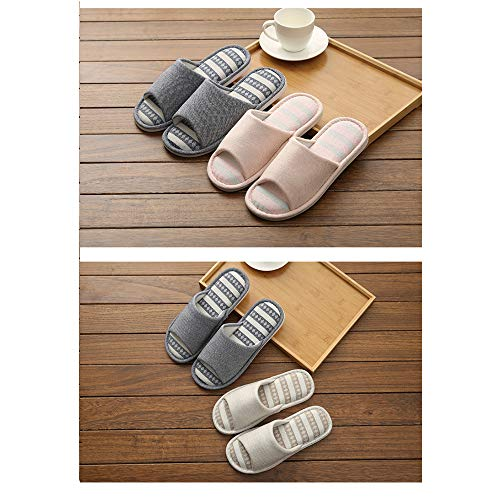 On House Bedroom Memory Season Foam 8 Women,soft Flax Indoor Striped Slippers,casual Slippers Open Men Cotton Four Dark Shoes Blue Slipper Soft 5 Sole Home Slip Uk Beautiful Washable Cute Lomas Comfort 5 9 Toe I417xZ