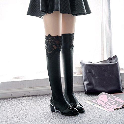 Btrada Dames Over De Knie Dij Hoge Elastische Laarzen Knop Zijde Dikke Blokhak Fluwelen Rijlaarzen Zwart