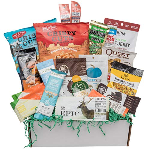 Deluxe KETO Snacks Gift Box: Mix of Low Sugar High Fat Ketogenic Diet Snacks, Cookies, Protein Bars, Beef Sticks & Pork Rinds Low Carb Keto Care - Fat Reduced Cheddar