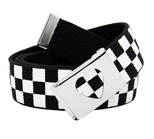 Girl's School Uniform Silver Flip Top Heart Belt Buckle with Canvas Web Belt Small Checkered