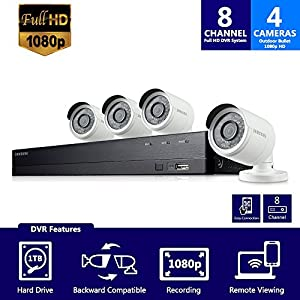 Samsung Wisenet SDH-B74041 8 Channel 1080p Full HD DVR Video Security Camera System 4 Outdoor BNC Bullet Camera (SDC-9443BC) with 1TB Hard Drive (Certified Refurbished)