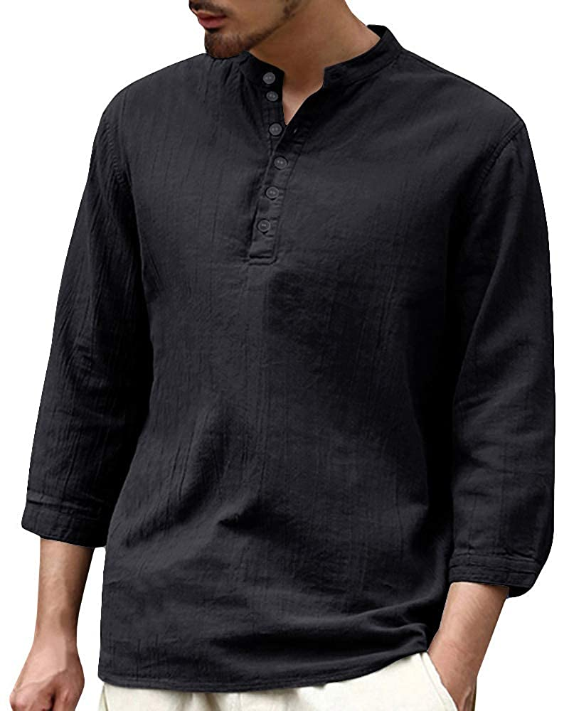 c0db27d1e Mens V Neck Cotton Linen Hippie Shirts Long Sleeve Casual Henley T-Shirt  Top at Amazon Men s Clothing store
