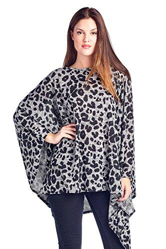 Modern Kiwi Solid Knit Sweater Caftan Poncho Tunic Grey Leopard One Size