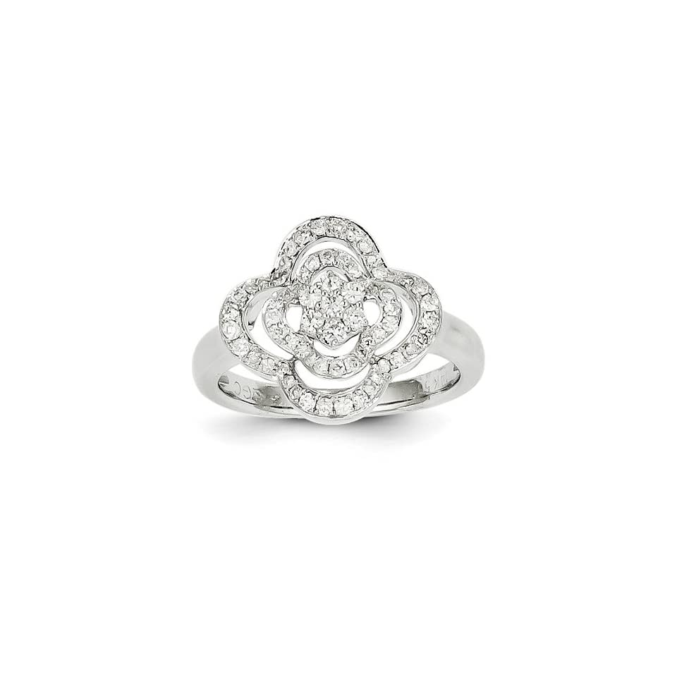 14K White Gold Diamond Ring (Color H I, Clarity SI2 I1)