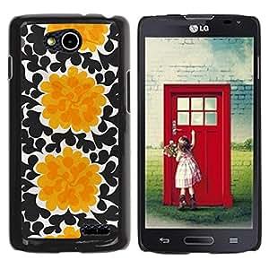 iKiki Tech / Estuche rígido - Flowers Black Wallpaper Art - LG OPTIMUS L90 / D415