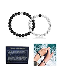 J.Fée Christmas Gifts Relationship Couples Bracelet Matte Black Onyx White Howlite Distance Bracelet 7in&8in