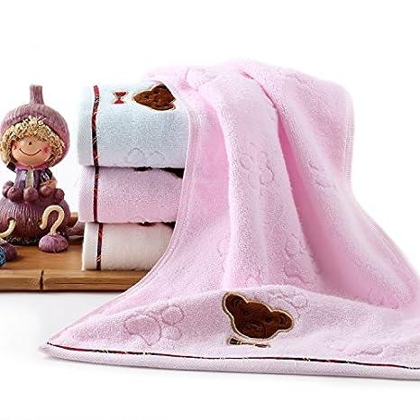 Dibujos animados lindo bordado oso algodón cara toallas toalla es las necesidades diarias de color Super absorbente toallas 70 * 33cm , blue: Amazon.es: ...