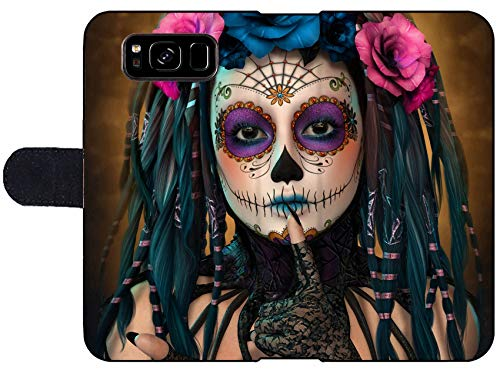Luxlady Samsung Galaxy S8 Flip Fabric Wallet Case ID: 44522015 3D Computer Graphics of a Young Woman with Sugar Skull Makeup by Luxlady (Image #1)