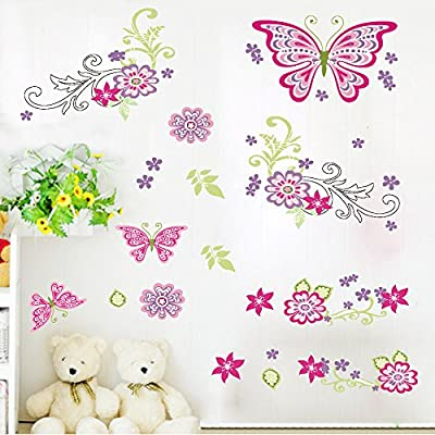 Amaonm® Removable DIY Pink Red Cute Cartoon Flowers Flower Vines Butterfly Wall Decals Wall Stickers Murals Wallpaper Peel Stick for Kids Girls Bedroom Living Room Offices Background Decorations
