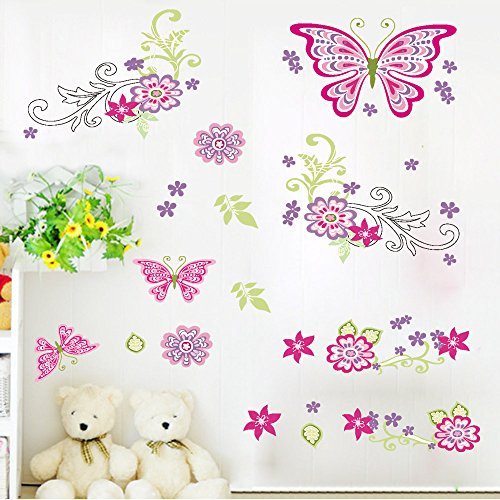 (Amaonm Removable DIY Pink Red Cute Cartoon Flowers Flower Vines Butterfly Wall Decals Wall Stickers Murals Wallpaper Peel Stick for Kids Girls Bedroom Living Room Offices Background Decorations)