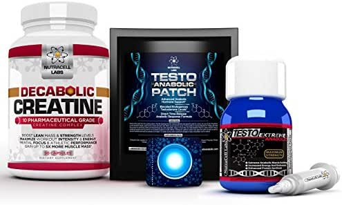 Nutracell Labs Anabolic Muscle Stack : Testo Extreme Anabolic & 10 Blend Decabolic Creatine & Testo Anabolic Patches - Strongest Legal Testosterone Booster, Muscle Growth & Strength Stack (1 Month)