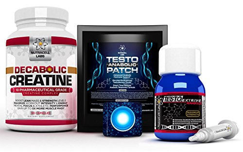 (Nutracell Labs Anabolic Muscle Stack : Testo Extreme Anabolic & 10 Blend Decabolic Creatine & Testo Anabolic Patches - Strongest Legal Testosterone Booster, Muscle Growth & Strength Stack (1 Month))