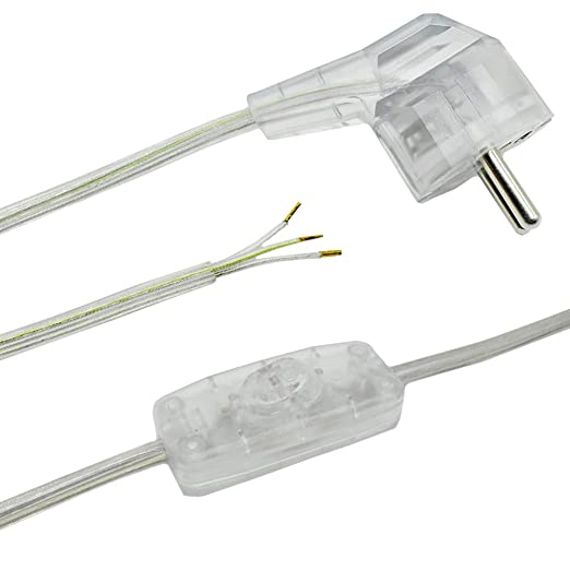 Cable de conexión de 2 m transparente para lámparas de mesa o de ...
