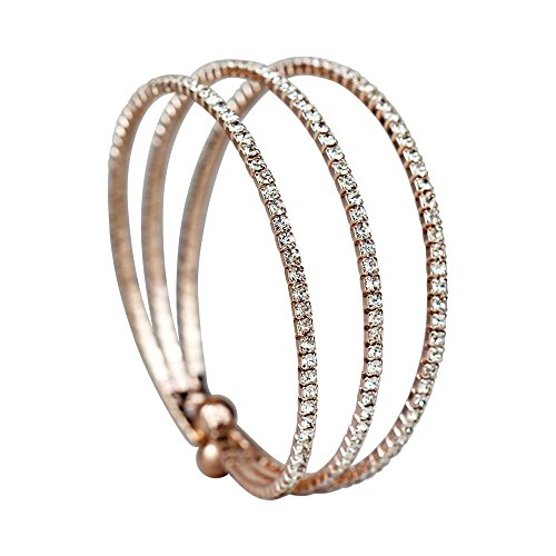 Rhinestone 3-Row Cuff Bracelet, Rose Gold