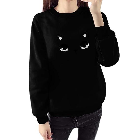 b1fa9100 TITAP M-3XL Women Fashion Long Sleeve O-Neck Cat Face Cartoon Print Loose