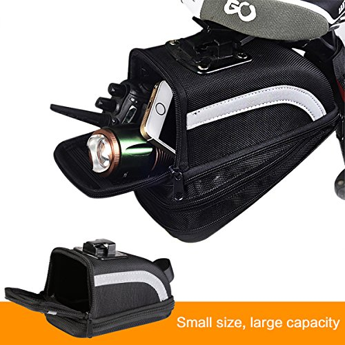 Youngdo Bicycle Saddle Bag and Bicycle Tail Light Water Resistant Reflective Strips Color Black