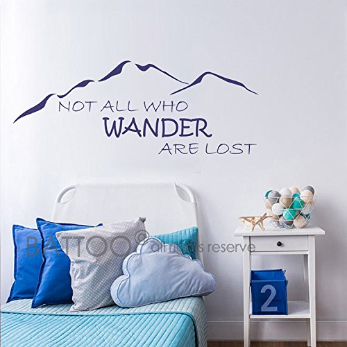 BATTOO Not All Who Wander Are Lost Wall Decal Mountain Vinyl Sticker 40'' W 15.5'' H Family Kids Room Mural Motivation Love Home Travel Hobbit, Dark Blue by BATTOO