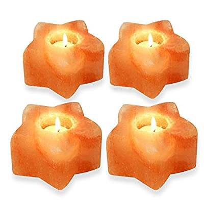 SMAGREHO Himalayan Salt Candle Holders, Star Shape Rock Salt Candle Holder for Tea Lights, 4 Pack