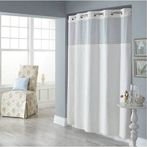 Trendy Linens Hookless Shower Curtain See Through Top Hotel Quality Polyester with Magnets, and Sheer Voile Peek-a-boo Window - 71