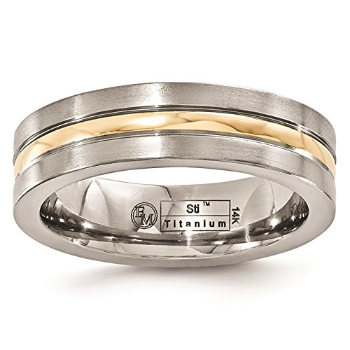 Titanium w/14K Gold Inlay Polished & Brushed Finish Grooved 6mm Wedding Band Size 9.5 by Edward Mirell by Venture Edward Mirell Titanium Bands