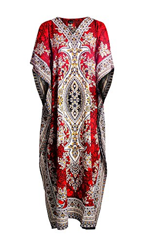 Mia Creations Tribal Print Long Kaftan Plus Size Maxi Dress (Red) One Size
