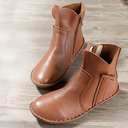 En 3 Cuir Femme Chaussures Couleur Style Vogstyle Plates Plein Brun pxqaBBvw
