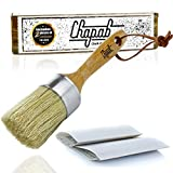 #2: Chalk Paint Brush and Wax Brush for Furniture – Natural Boar Hair Bristle Brush & 800 Grit Sandpaper for Buffing – Anti-Shed AnchorSet Bristles - Leather Hanging Hook - Annie Sloan Wax Brush