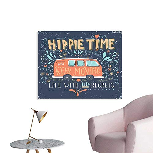 J Chief Sky Hippie Wallpaper Sticker Hippie Motivational Inspiring Quote with Flowers Dots and Drop Like Ornaments Print Personalized Wall Decals W28 xL20 ()