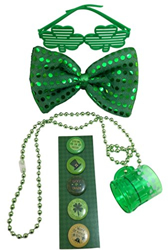 [St Patrick's Day Bundle - Sequin BowTie, Shuttered Shamrock Glasses, 5 Irish Buttons & Shot Glass] (Back To School Theme Party Costumes)