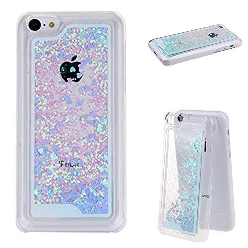 Dealspank® Glitter Case for iPhone 5C, 3D Flowing Glitter Hearts Bling Quicksand Liquid Case Protective Clear Hard Case Cover for iPhone 5C (Hearts/Blue)+ A shinning hair bun sent randomly (Clear Grande Glass Waterfall)