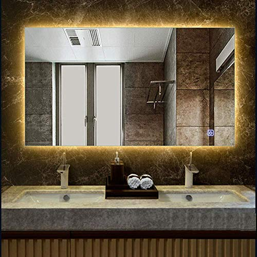 500x700mm Rectangle Illuminated Led Bathroom Mirror Anti-Fog Features Wall Mounted Vanity Makeup -