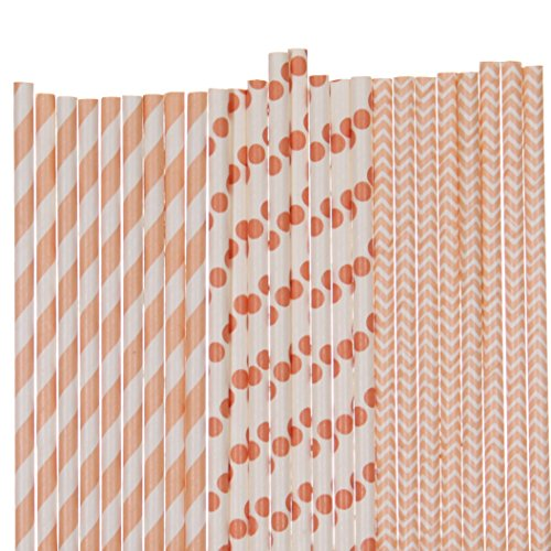 Peach Paper Straws Mix - Stripe, Chevron Polka Dots (25)