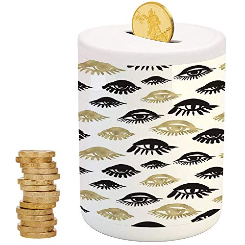 Trippy,Piggy Bank Coin Bank Money Bank,Printed Ceramic Coin Bank Money Box for Cash Saving,Sexy Woman Eyes with Eyelash Unusual Style Fashion Icon Modern Design Print ()