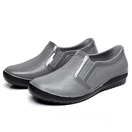 QQSHUIXUEA Xiexie da uomo casual stivali da pioggia/impermeabile stivali di gomma antiscivolo/Low stivali stivali/Low/coppia pattini acqua/nero/blu/grigio Grey