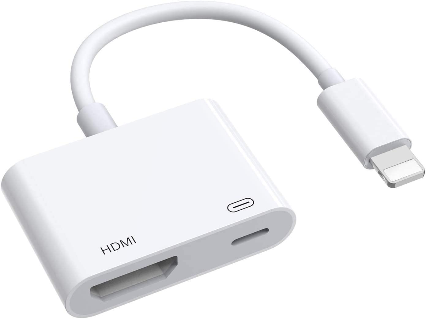 New Compatible with Phone to HDMI Adapter 1080P Digital AV Adapter Cable Sync Screen HDMI Connector with Charging Port for iOS 13/Phone/Pad/Pod Models (White)