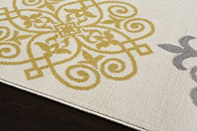 Modern Geometric Damask Design Area Rug