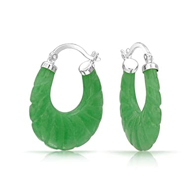 d1141f444 Amazon.com: Craved Dyed Green Jade Round Oval Hoop Earrings For Women 925  Sterling Silver .75 Inch Dia: Jewelry