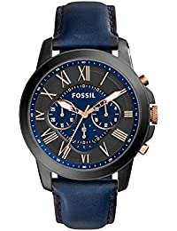 Men's FS5061 Grant Black Stainless Steel Watch with Blue Leather Band