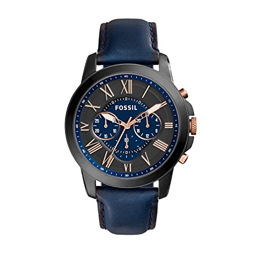 Fossil Men's Grant Quartz Stainless Steel and Leather Chronograph Watch, Color: Black, Navy (Model: FS5061IE)
