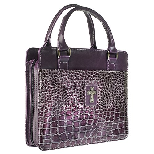 Purple Metallic Croc Purse-Style Bible / Book Cover w/Cross (Medium)